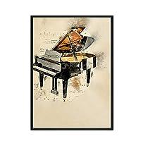ヴィンテージスタイルの楽器ポスターピアノプリントキャンバス壁アート絵画音符家の装飾画像50x70cmx1フレームなし