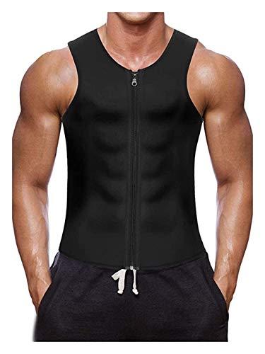 ZFLY-JJ Man Cincher Slimming Sauna Perspiration Vest Neoprene Zip Compression T Deportivo Fitness (Color : S)
