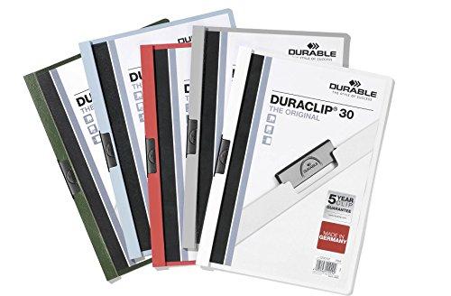 Durable 220000 - Duraclip 30, Cartellina con Clip per Archiviare Documenti, Capacità 1 - 30 Fogli, Formato A4, Confezione da 25 Pezzi, Assortiti
