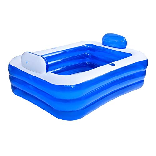 slientC Inflatable Bathtub, Double Bath Tub, Folding Inflatable Bathtub for Adults, Home SPA Bathtub, Family Inflatable Swimming Pool, Double Backrest for Up 2 People, Blue, 59x41.3x27.65in