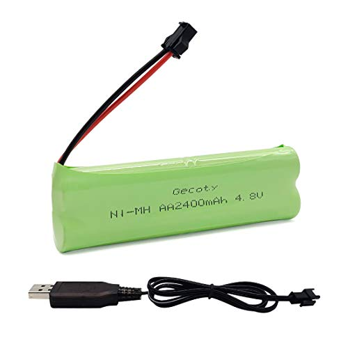 Gecoty® Wiederaufladbare 4,8V NI-MH AA Batterie, 2400mAh RC-Akku mit SM Stecker und Ladekabel für Hochgeschwindigkeitszug Spielzeug, Beleuchtung, Elektrowerkzeuge