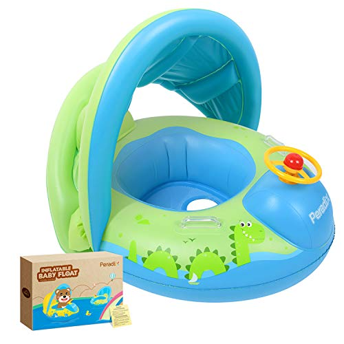 Peradix Baby Water Pool Float with Canopy Sunshade Roof for Infants Inflatable Swimming Ring Boat for Pool Water Fun Outdoor Activity
