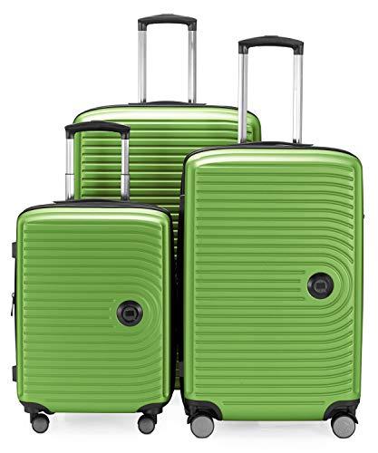 HAUPTSTADTKOFFER - Juego de 3 maletas extensibles – Trolley cabina de de 55 cm, Equipaje de tamaño mediano 68 cm + maleta grande para viaje 77 cm, cáscara dura ABS, TSA, Verde manzana