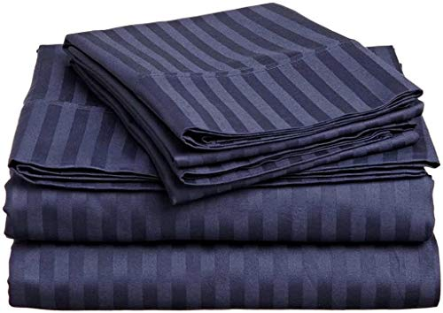 """Best-Bedding 4 PCs Sheet Set 6"""" Drop 500 Thread Count Super Soft 100% Cotton for RV Campers, Airstream Easy to fit in RV Mattress Navy Blue Stripe Three Quarter (48"""" X 75"""")"""