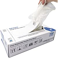 OKIAAS Guantes de Vinilo|Guantes translúcidos desechables libres de látex y polvo para la limpieza del hogar, manipulación de alimentos, trabajo de laboratorio y más|Mediano,100 unidades/caja