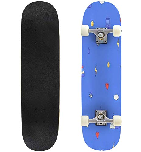31'' Complete Skateboard Seamless Pattern with Different Elements from The 80s and 90s Fashion Standard Skateboard for Beginners Kids Adults, Maple Double Kick Deck Concave Skate Board Longboard