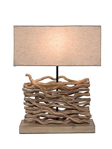 *miaVILLA Tischleuchte Aberon – Holz – Stoffschirm – Natur – Höhe ca. 50 cm*