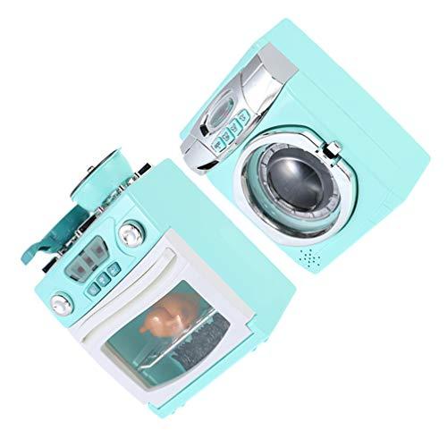 jojofuny 2 Piezas de Juego de Cocina en Miniatura Horno Y Estufa Lavadora Juguete Electrónico con Luces de Acción Realistas Sonido para Niños Juegos de rol Accesorios Azules
