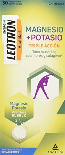 LEOTRON Magnesio + Potasio - 30 comprimidos efervescentes - Triple acción: Tono muscular, calambres y colágeno - Agradable sabor a naranja - Envase para 30 días. A partir de 12 años.
