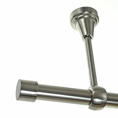 BASIT Gardinenstange Set Edelstahl Look Metall Ø 19mm zur Deckenbefestigung 1-lauf Kappe, Länge wählbar H18E61, Länge:360 cm