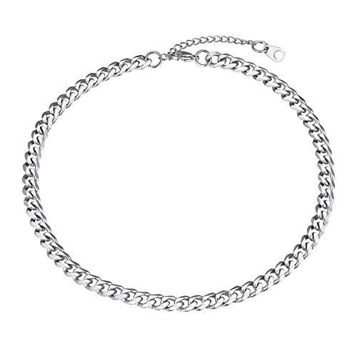 FOCALOOK Panzerkette Collier für Damen Mädchen Edelstahl Kurze Kette 35+5cm/6mm Choker Collier Trendige kubanische Halskette Accessoire für Anhänger