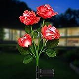 Garten Solarleuchten für Außen, KOOPER Solar Gartenleuchte mit 4 Größer Rot Rosen Lichter und Breiteres Solarpanel, IP65 Wasserdicht Solarlampen für Außen Garten Rasen Terrasse