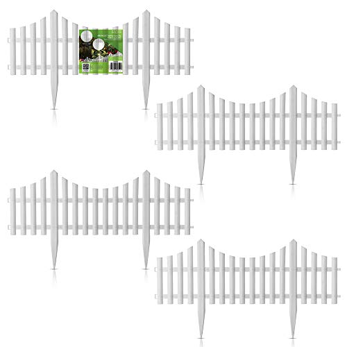 Hillington Pack Of 4 Garden Border Picket Fencing - Easy Click Together Plastic Decorative Traditional Wooden Style Garden Fencing Edging Non-Toxic Panels (White)