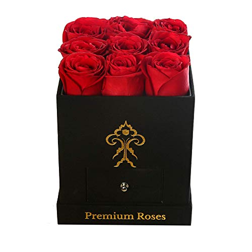 Premium Roses  Real Roses That Last a Year   Fresh Flowers  Roses in a Box (Black Box, Small)