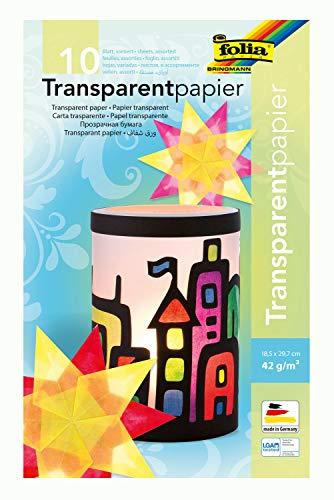 folia 810 - Mappe mit Transparentpapier, 10 farbig sortiert, 10 Blatt, 42 g/qm, ca. 18,5 x 29,7 cm, ideal zum Gestalten von Windlichtern, Fensterbildern, Laternen und vielem mehr