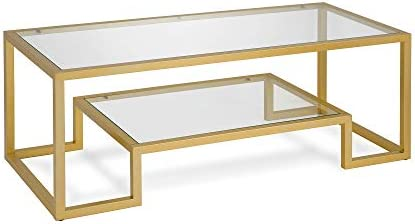 Best Henn&Hart Modern Geometric-Inspired Glass Coffee Table, One Size, Gold