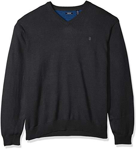 IZOD Men's Big Premium Essentials Solid V-Neck 12 Gauge Sweater, NES Asphault, 2X-Large Tall