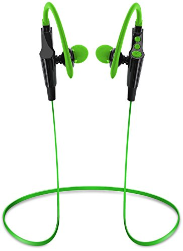 Aduro Amplify SBN80 Wireless In Ear Bluetooth Stereo Headset w/Noise Cancelling Tech, Ergonomic Design, Secure Fit, Built In Mic (Green)