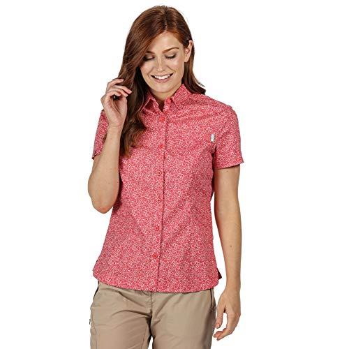 Regatta RWS114 Honshu IV Damen Bluse mit floralem Muster eine Brusttasche Uni, Groesse 44, koralle gemustert