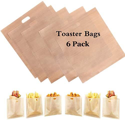 6 paquetes de bolsas de pan tostado para reutilizar, ideal para sándwiches de queso a la parrilla - 100% BPA sin gluten - Bolsas de tostadas de teflón premium certificadas por la FDA y LFGB