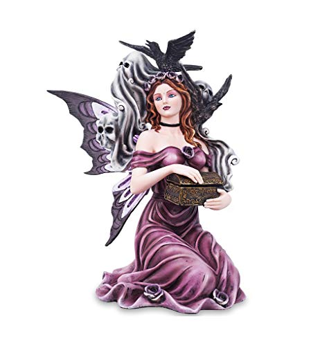 Les Alpes Orig. Fata Gotica AMITOLA con Tesoro e Spirito, Collezione Fairy Land, Altezza 27 cm - Statuetta Figura Dipinta a Mano - 042 732