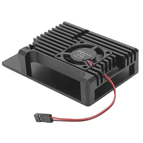 Ventilador Raspberry Pi 4, ventilador de refrigeración de CPU sin escobillas de aleación de aluminio, cubierta de protección CNC para radiador de un solo ventilador, disipación de calor rápida(negro)