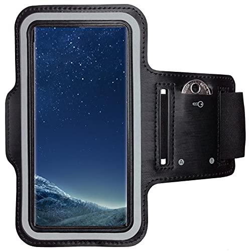 CoverKingz Sportarmband für Samsung Galaxy S8 - Armtasche mit Schlüsselfach Galaxy S6 Edge - Sport Laufarmband Handy Armband Schwarz