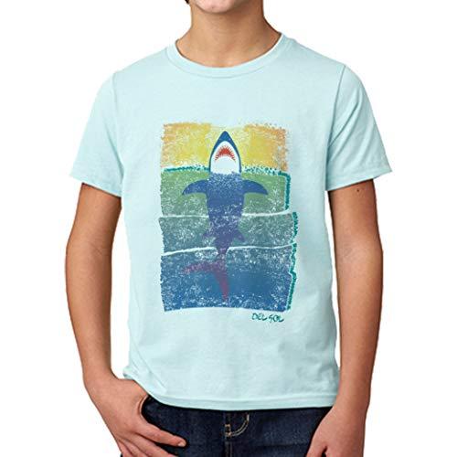 DelSol - Kids Crew tee - Rising Shark - Camiseta Que Cambia de Color - Cambios en la luz Solar - 100% algodón Hilado en Anillo Preencogido - YXS - 1 Pc
