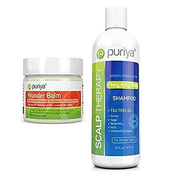 Puriya Tea Tree Oil Balm and Sulfate-Free Scalp Clarifying Shampoo Bundle Set Extra Strength Plant Rich Wonder Balm Hydrating and Moisturizing Treatment of Dry Scalp