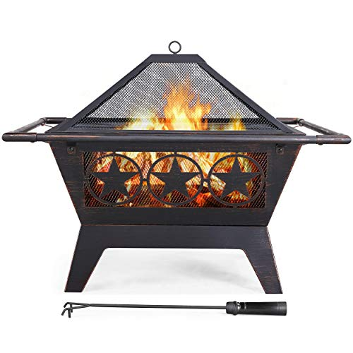 YAHEETECH Fire Pit 32'' Iron Fire Pit Outdoor Patio BBQ Camping Bonfire Bronze Outdoor Fireplace Fire Bowl with Spark Screen, Mesh Cover Grills Poker Square Fire Pit