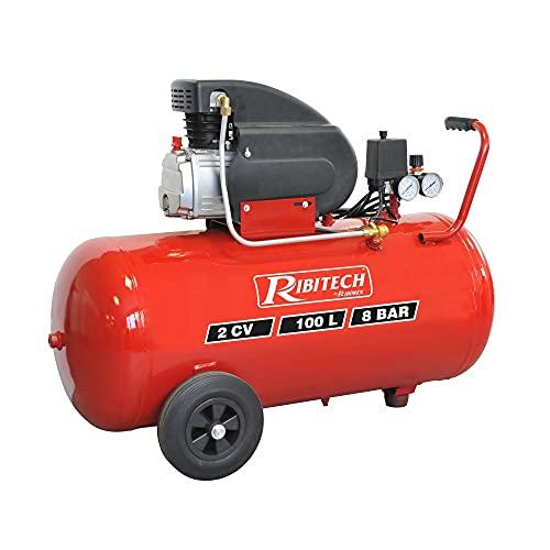 Ribitech - Compresseur à air, 100L 2CV