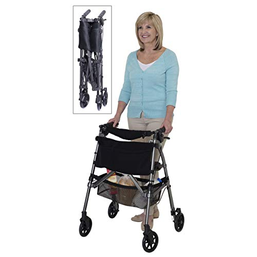 Stander EZ Fold-N-Go Rollator, Lightweight Folding 4 Wheel Rolling Walker for Seniors with Compact Travel Seat and Locking Brakes, Black Walnut