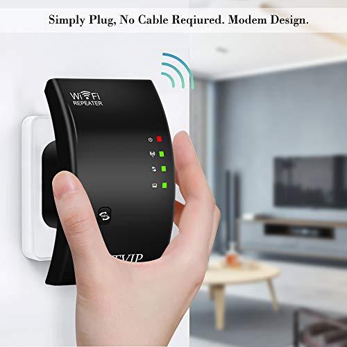 NETVIP WLAN Verstärker 300Mbit/s Extender, WLAN Repeater Signalverstärker Netz Access Point Wifi Receiver Adapter mit WPS Verstaerker, EU Steckdose, LAN Ethernet Port, Kompatibel zu allen WLAN Geräten