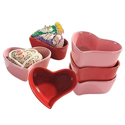 AWYGHJ Ramekins 3 oz Ofen Safe, keramische Herzform stapelbare Ramekine, für Creme Brulee, Porzellan-Souffle-Ramekins, Vanillepudding-Becher, Backschalen, zum Pudding, 6er Set von 6