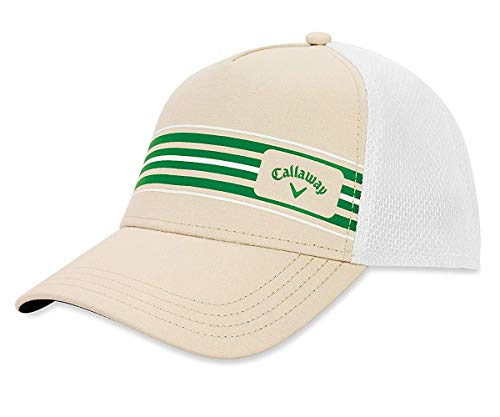 Callaway Golf Stripe Mesh Hat, Khaki/White/Green