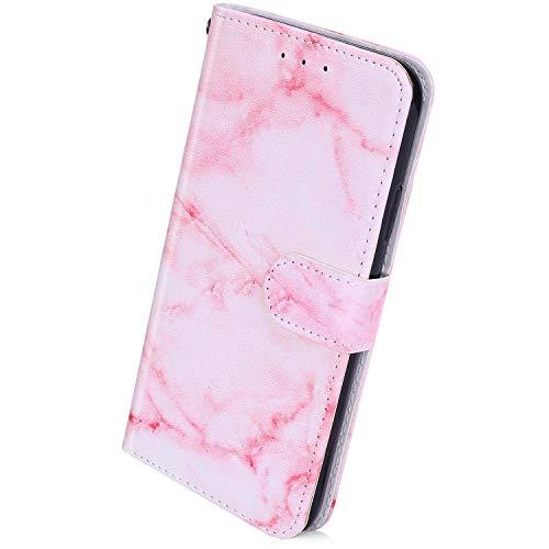Herbests Kompatibel mit Samsung Galaxy A21S Handyhülle Retro Bunt Muster Flip Case Leder Schutzhülle Brieftasche Wallet Hülle Klapphülle Ledertasche mit Magnet Kartenfach,Rosa Marmor