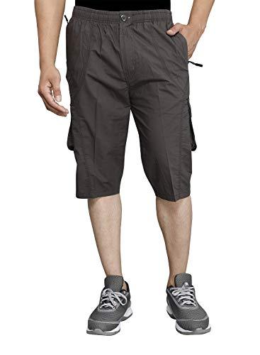 SAPPER Mens Cotton Three Fourth Capri Shorts with Cargo Pockets(Dark...