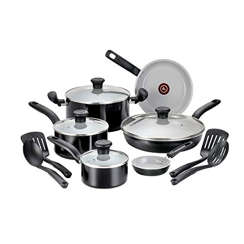 T-fal Cookw G917SE64 Initiatives Ceramic Nonstick Dishwasher Safe Toxic Free 14-Piece Cookware Set, Black