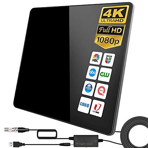 [2021 Version Améliorée] HD Antenne TV,420KM Gamme Antenne TV Intérieure Amplificateur Intellectuel Signal, Convient aux 1080P 4K Chaînes Télévision Gratuites,5 Mètres Câble Coaxial