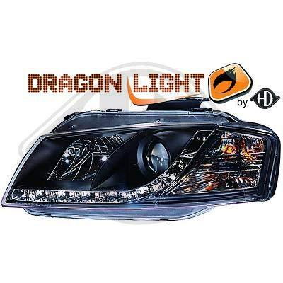 1031585, Paire de Feux Phares Daylight LED noir pour A3 8P de 2003 a 2008