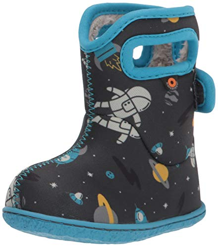 BOGS unisex child Baby Bogs Waterproof Snowboot Rain Boot, Space-dark Gray, 10 Infant US