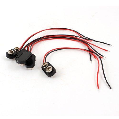 5 piezas negro carcasa de plástico 14,99 cm dos-con cable 9 V conectores para pilas recargables de