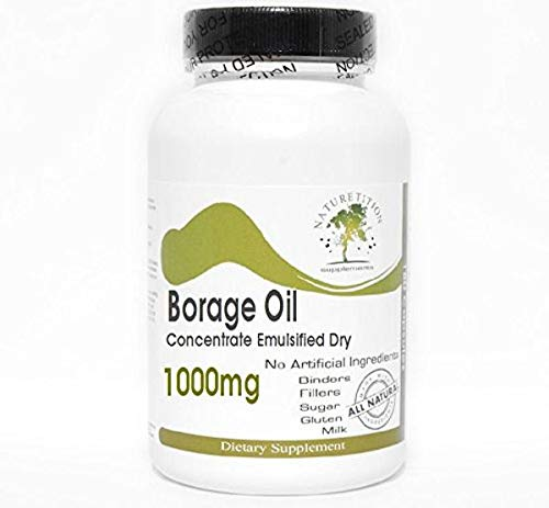 Borage Oil Concentrate Emulsified Dry 1000mg ~ 200 Capsules - No Additives ~ Naturetition Supplements