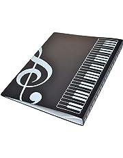 Carpeta de partituras, plástico A4, estante de almacenamiento para claves de agudos, partituras, color negro