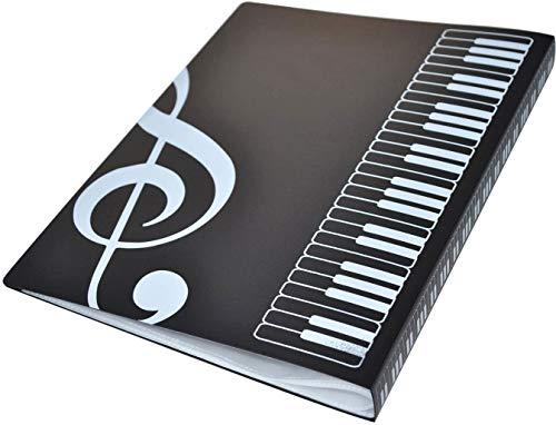 Notenordner Kunststoff A4 Ablage Notenschlüssel Notenschlüssel schwarz