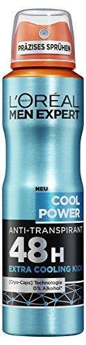 L'Oréal Men Expert Cool Power Deo Spray, ideal vorm Sport dank Hautkühl-Effekt Frischer Minz-Duft 48H Schutz vor Schweißbildung (6 x 150 ml)