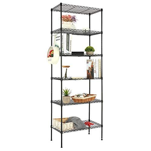 Devo Estantería de Metal para Cocina con 5 estantes, Altura Ajustable, Estante, estantería de baño (Negro)