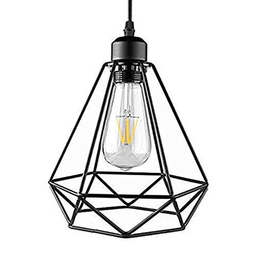 Asvert Lámpara de Techo Vintage Lluminación de Techo Luz Colgante Industria Hierro Negro Luz de techo E27