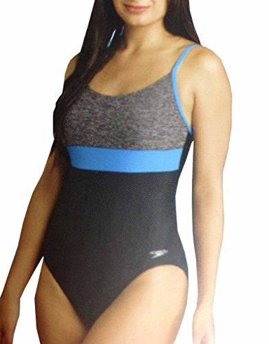 Speedo Women's Ultraback Racerback Athletic Training One Piece Swimsuit (Heather Grey, 14)