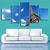 KOPASD Arte de Pared 5 Piezas Torre Eiffel Impresión de Imagen en Lienzo para la Oficina Moderna Decoraciones hogar de la Imagen 20x35*2+20x45*2+20x55*1